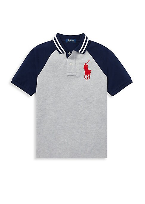 Image of Liven up his look with this Polo shirt, which combines stripes, sporty graphics, & the iconic signature Big Pony. Striped ribbed Polo collar. Two-button placket. Short raglan sleeves with ribbed armbands. Signature embroidered Big Pony at the left chest.