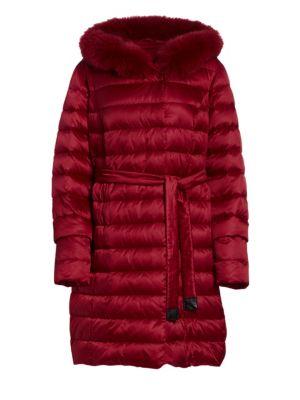 MARINA RINALDI Dolomiti Quilted Fox Fur Jacket in Dark Beige
