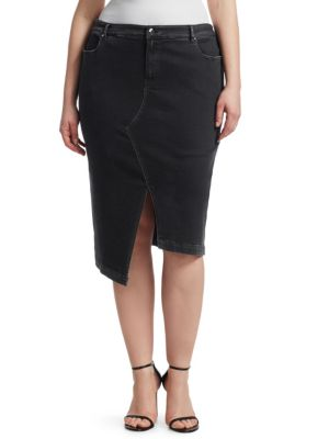ASHLEY GRAHAM X MARINA RINALDI Asymmetric Denim Skirt in Black