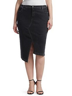 82dde9546c QUICK VIEW. Ashley Graham x Marina Rinaldi. Asymmetric Denim Skirt