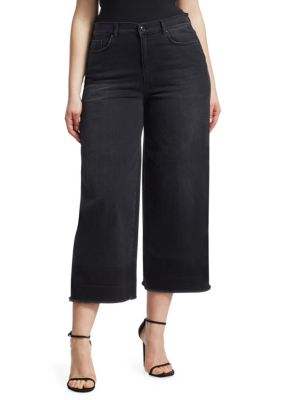 ASHLEY GRAHAM X MARINA RINALDI Ashley Graham X Marina Rinaldi Crop Wide Leg Jeans in Black