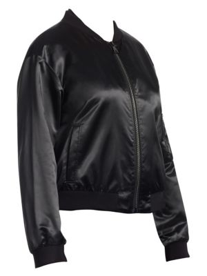 ASHLEY GRAHAM X MARINA RINALDI Ashley Graham X Marina Rinaldi Satin Bomber Jacket in Black