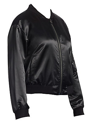 """Image of From the Ashley Graham X Marina Rinaldi Collection High-shine bomber jacket with utilitarian details Baseball collar Long sleeves Zip front Banded trim Sleeve zip pocket Side slit pockets Satin lining About 21.5"""" from shoulder to hem Poyamide/polyester Dr"""