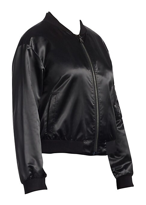 """Image of From the Ashley Graham X Marina Rinaldi Collection. High-shine bomber jacket with utilitarian details. Baseball collar. Long sleeves. Zip front. Banded trim. Sleeve zip pocket. Side slit pockets. Satin lining. About 21.5"""" from shoulder to hem. Poyamide/po"""