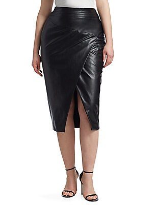 """Image of The classic pencil skirt is reimagined in supple pleather with a wrap front and an alluring slit. Banded waist Concealed back zip closure Front slit Lined Nylon Hand wash Made in Italy SIZE & FIT About 29.5"""" long. Salon Z - Rinaldi Salon Z. Ashley Graham"""