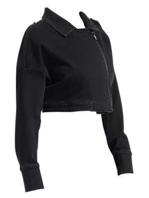 ASHLEY GRAHAM X MARINA RINALDI Ashley Graham X Marina Rinaldi Crop Biker Jacket in Black