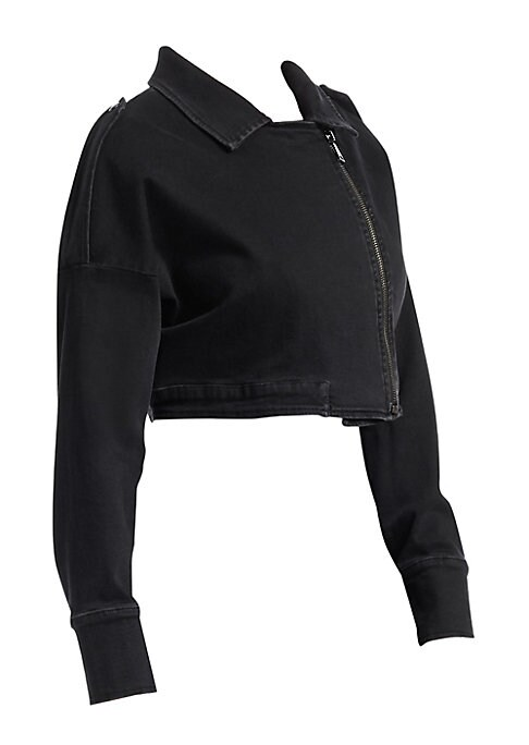 """Image of From the Ashley Graham X Marina Rinaldi Collection. Paneled denim biker jacket in crop boxy silhouette. Notch lapel. Long sleeves. Zip front. Epaulets. Button cuffs. About 15.75"""" long. Cotton/elastane. Hand wash. Imported."""