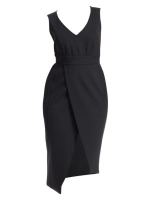 ASHLEY GRAHAM X MARINA RINALDI Jersey Sleeveless Wrap Dress in Black