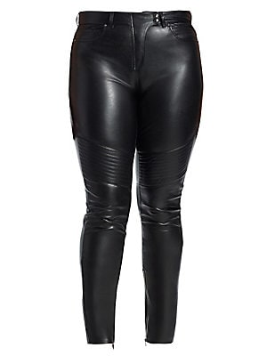 "Image of Edgy faux leather pants feature exposed stitches and utilitarian snap buttons. Belt loops Five-pocket style Zip front with snap-button fly closure Cotton/elastane Dry clean Made in Italy SIZE & FIT Rise, 12"" Inseam, 25"". Salon Z - Rinaldi Salon Z > Saks F"