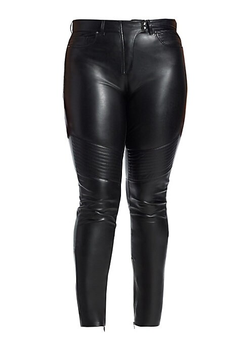 """Image of Edgy faux leather pants feature exposed stitches and utilitarian snap buttons. Belt loops. Five-pocket style. Zip front with snap-button fly closure. Cotton/elastane. Dry clean. Made in Italy. SIZE & FIT. Rise, 12"""".Inseam, 25""""."""