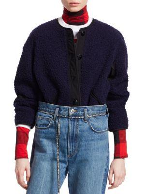 Button-Front Fleece Jacket in Black