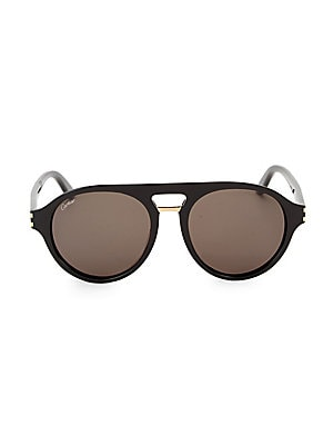 Image of Aviator style sunglasses with polished accents. 100% UV protection Brow bar Acetate Made in Italy SIZE 55mm lens width 19mm bridge width 145mm temple length. Men Accessories - Men Sunglasses. Cartier. Color: Black.