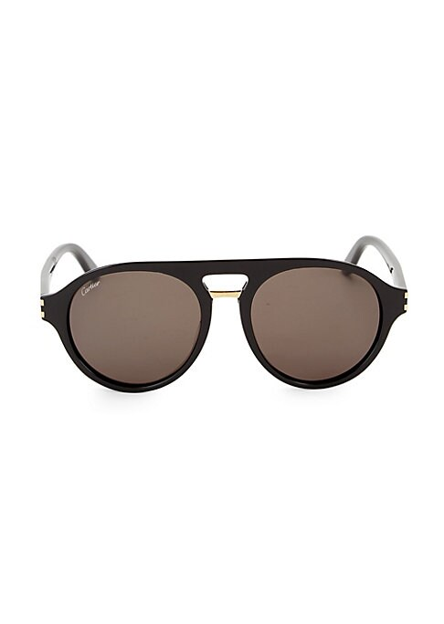 Image of Aviator style sunglasses with polished accents.100% UV protection. Brow bar. Acetate. Made in Italy. .SIZE .55mm lens width.19mm bridge width.145mm temple length.