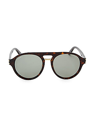 Image of Aviator style sunglasses in tortoise finish. 100% UV protection Brow bar Acetate Made in Italy SIZE 55mm lens width 19mm bridge width 145mm temple length. Men Accessories - Men Sunglasses > Saks Fifth Avenue. Cartier. Color: Havana.