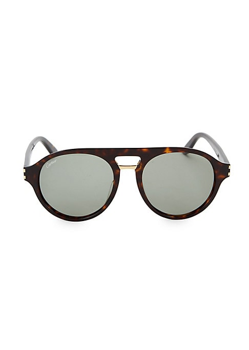 Image of Aviator style sunglasses in tortoise finish.100% UV protection. Brow bar. Acetate. Made in Italy. .SIZE .55mm lens width.19mm bridge width.145mm temple length.