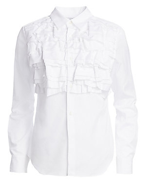 Image of Tiered ruffles add structural textures to this classic button-down shirt. Crafted to be a standalone piece, this item exudes Victorian grandeur. Spread collar Long sleeves Buttoned cuffs Button front Shirttail hem Matte finish Cotton Dry clean Imported SI