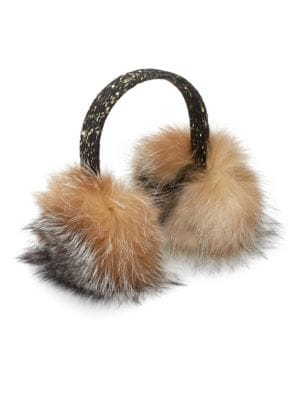 SURELL Tweed & Sequin Dyed Fox Fur Earmuffs in Multi