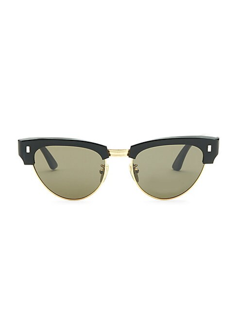 Image of Classic made cool featuring the new rectangular pips signature.51mm lens width; 18mm bridge width; 145mm temple length.100% UV protection. Goldtone logo at temple. Acetate/metal. Made in Italy.