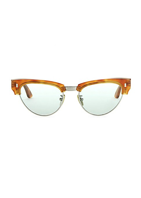 Image of Classic made cool featuring the new rectangular pips signature.18mm bridge width; 145mm temple length. Mineral lenses.100% UV protection. Goldtone logo at temple. Acetate/metal. Made in Italy.