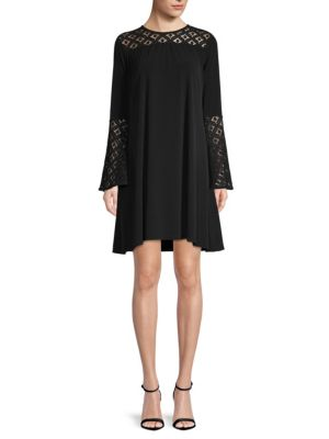 Lace Inset Bell Sleeve Swing Dress, Black