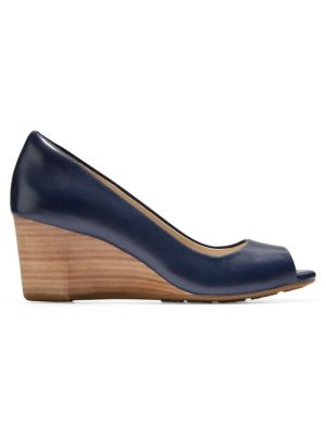 Sadie Open Toe Leather Wedge Pumps, Marine Blue Leather