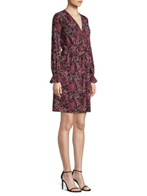 Short V-Neck Long-Sleeve Shirring Paisley-Print Dress, Black Maroon