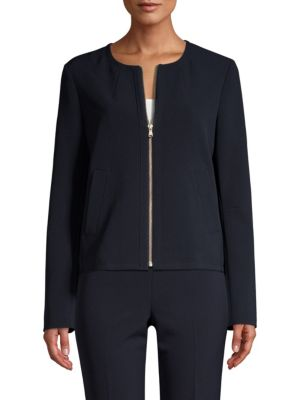 DONNA KARAN Long-Sleeve Collarless Zip-Front Jacket in Classic Navy