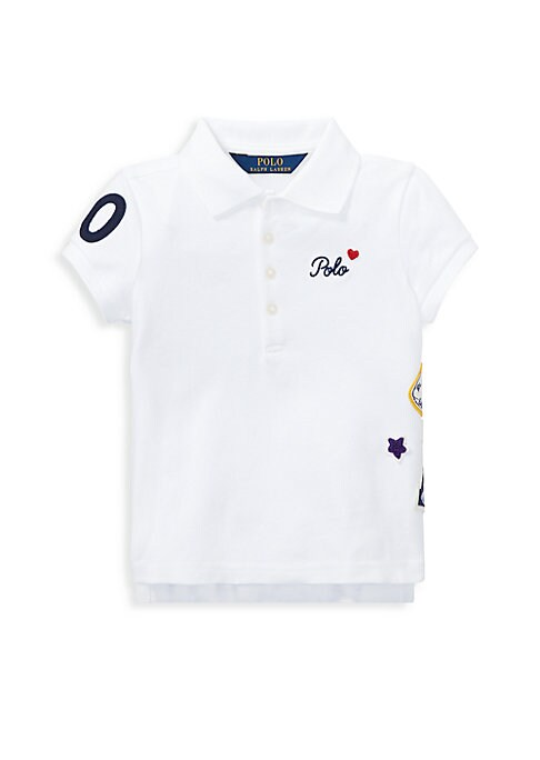 Image of A playful twist on a classic, this pique mesh stretch-cotton polo features a signature logo and varsity-inspired patches. Polo collar. Short sleeves. Ribbed collar and armbands. Four-button placket. Polo logo and a heart patch embroidered at the left ches