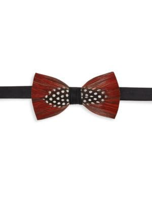 BRACKISH Chehaw Pheasant Feather, Guinea Feather & Satin Bow Tie in Red
