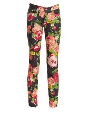 Floral-Print Jeans in Black Multi