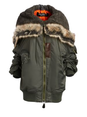 Hooded Faux Fur-Trimmed Padded Shell Parka, Sage Green