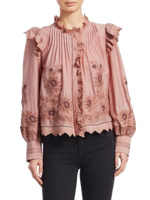 Greta Button-Front Long-Sleeve Embroidered Lace Peasant Blouse, Blush