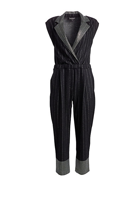 Image of Tailored pinstripes get the sophisticated sexy Emporio Armani touch when paired with a crossover neckline, cap sleeves and cropped legs. Crafted in a sumptuous wool-blend with a contrasting trim, it's a sleek look that's exudes a refined relaxed look and