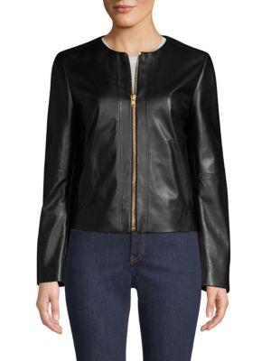 ESCADA SPORT Leather Zip Jacket in Black