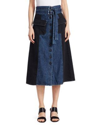 Two-Tone A-Line Midi Denim Skirt, Indigo X Black