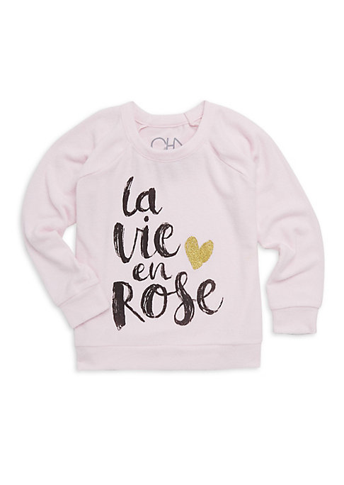 Image of Artful calligraphy accentuates glittering heart on cute sweatshirt. Crewneck. Long sleeves. Rib-knit neck, cuffs and hem. Pullover style. Polyester/rayon/spandex. Machine wash. Imported.
