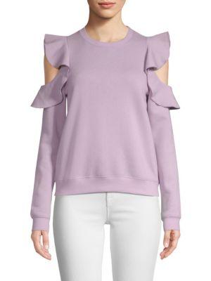 REBECCA MINKOFF Gracie Ruffle Crewneck Sweatshirt in Pink