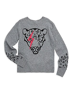 Image of Soft merino wool and cashmere sweater with cool leopard graphic. Crewneck Long sleeves Pullover style Ribbed trim Merino wool/cashmere Dry clean Imported. Children's Wear - Contemporary Children. Autumn Cashmere. Color: Grey. Size: 10.