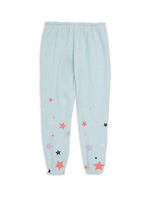 Image of Colorful star graphics offer vibrant visuals to these cozy stretch pants. Elasticized waist. Pull-on style. Elasticized leg opening. Polyester/rayon/spandex. Machine wash. Imported.