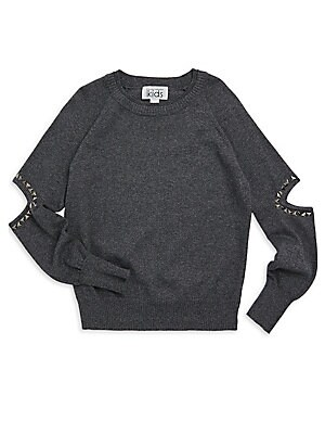 Image of Studs accentuate sleeve cut outs on raglan top Crewneck Long sleeves Studded elbow cut outs Rib-knit neck, cuffs and hem Pullover style Cotton Dry clean Imported. Children's Wear - Contemporary Children. Autumn Cashmere. Color: Tweed. Size: 8.
