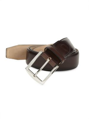 SUTOR MANTELLASSI Carter Master Patina Leather Belt in Brown