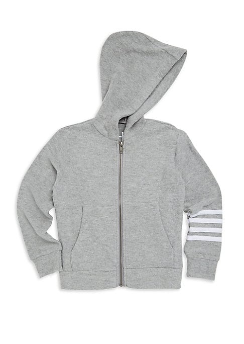 Image of Classic zip-up hoodie with athletic arm striping. Attached hood. Long sleeves. Front zip close. Split kangaroo pocket. Banded waist. Polyester/rayon/spandex. Machine wash. Imported.