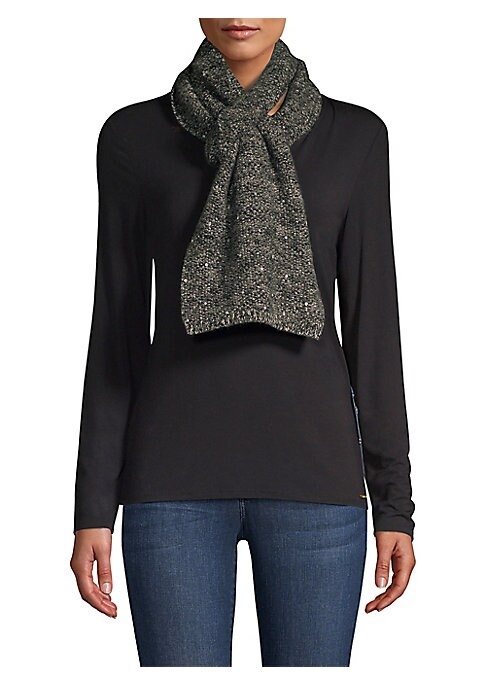 "Image of Cozy cashmere scarf flaunts scattered sequins. Cashmere. Dry clean. Imported. SIZE.10""W x 66""L."