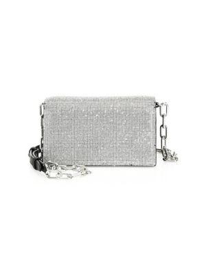 Attica Chain Crystal Embellished Crossbody Bag - Black
