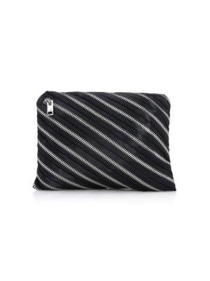 Zip Detail Clutch Bag in Black