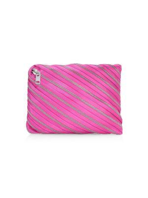 Unzip Satin Clutch in Pink