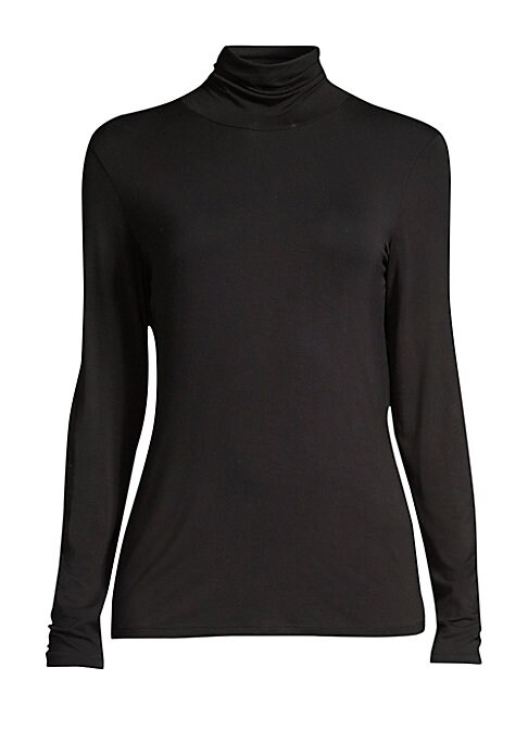 """Image of Crafted from a stretch fabric, this turtleneck top is an ideal piece for layering. Turtleneck. Long sleeves. Pullover style. Viscose/elastane. Hand wash. Imported of Italian fabric. SIZE & FIT. About 25"""" from shoulder to hem. Model shown is 5'10"""" (177cm)"""