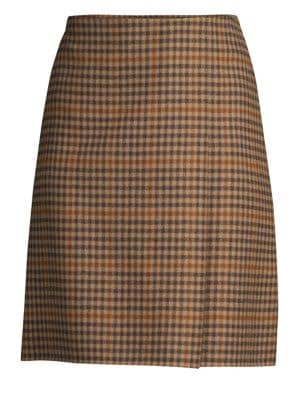 Sabina Plaid A-Line Skirt, Camel