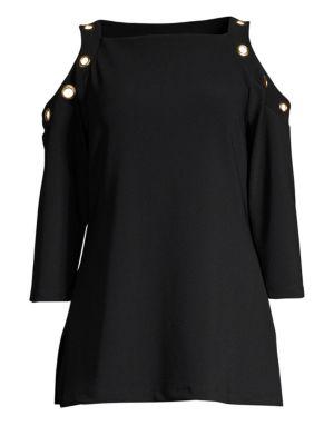 4a96dc1d09c007 Donna Karan New York Cold-Shoulder Grommet Top In Black ...