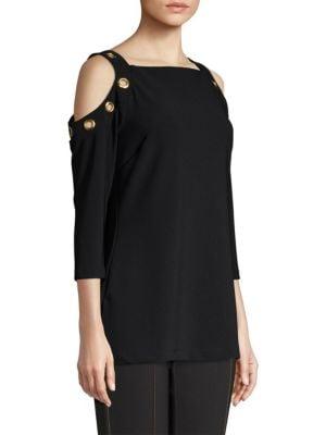 8dbcdc50585c1c Donna Karan New York Cold-Shoulder Grommet Top In Black